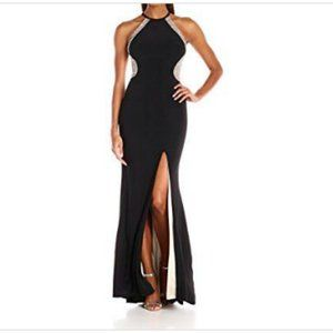 Xscape Caviar Beaded Halter Gown Ilussions $249